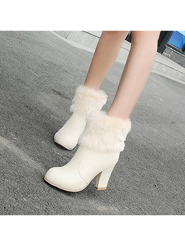 PU Bow Slip-On Chunky Heel Winter Boots for Women