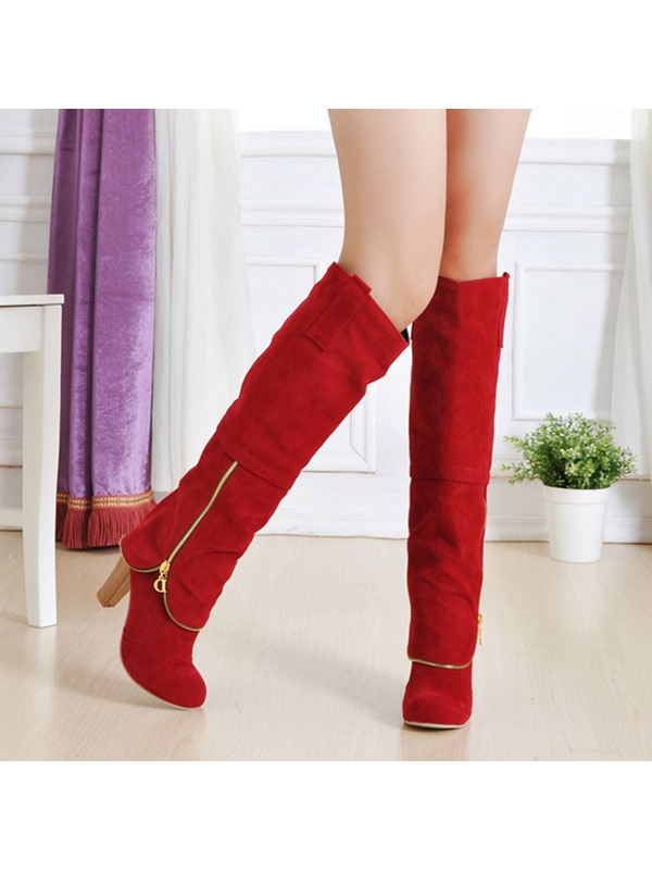 Faux Suede Side Zipper Chunky Heel Knee High Boots
