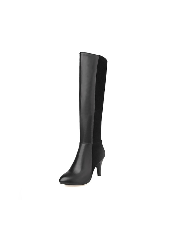 PU Patchwork Pointed Toe Side Zipper Women's Boots