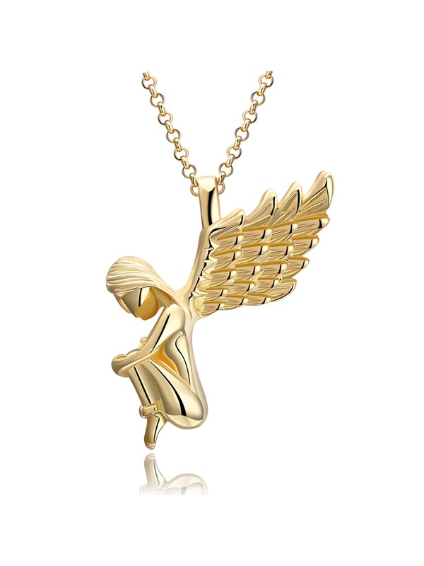 Christmas Overgild Angel's Wings Shaped Silver Plated Pendant Necklace