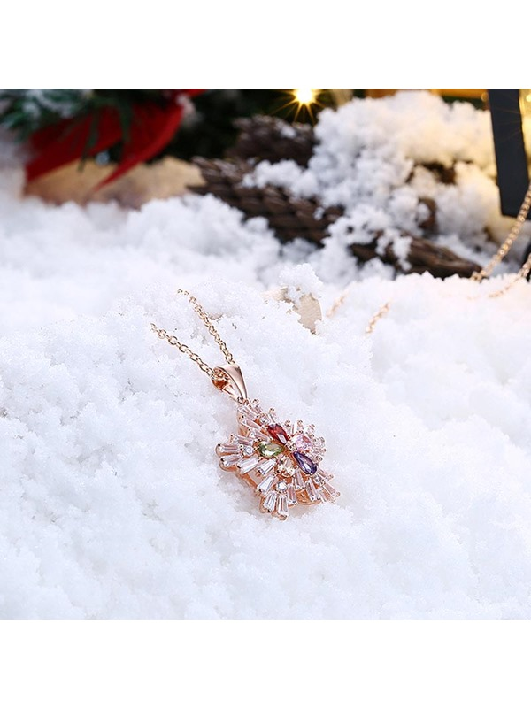 Christmas Zircon Inlaid Rose Gold Bronze Link Chain Necklace