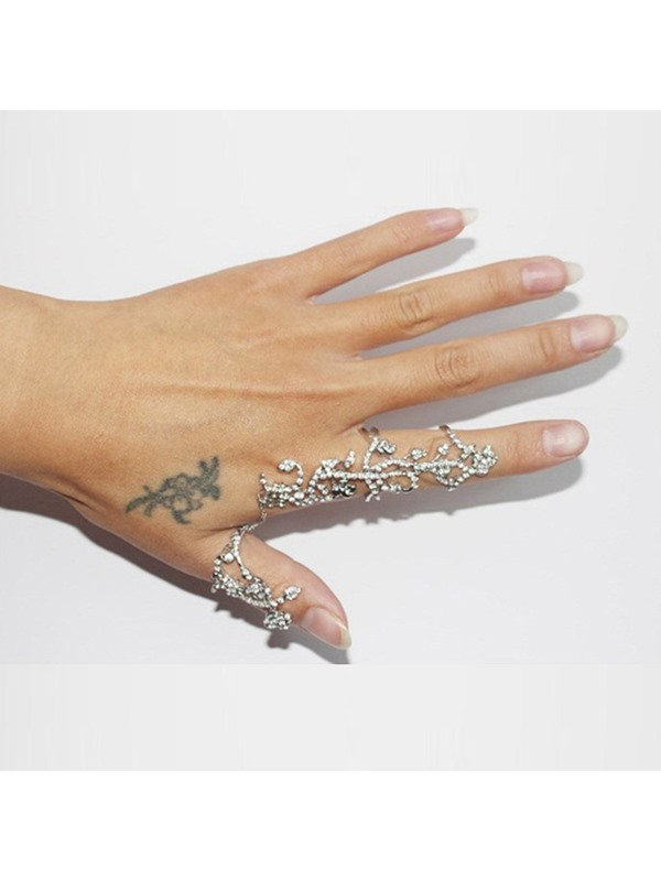 Hollow Floral Shape Imitation Diamante Decorated Knuckle Rings
