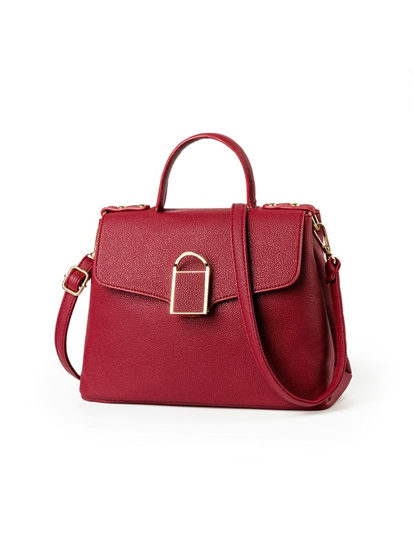 Elegant Solid Color Latch Decoration Crossbody Bag