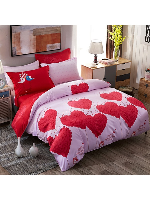 Wannaus Red Hearts Prints Romantic Style Polyester 4-Piece Pink Bedding Sets/Duvet Covers