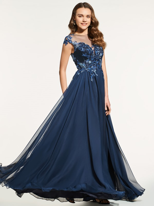 Beading A-Line Cap Sleeves Appliques Button Prom Dress