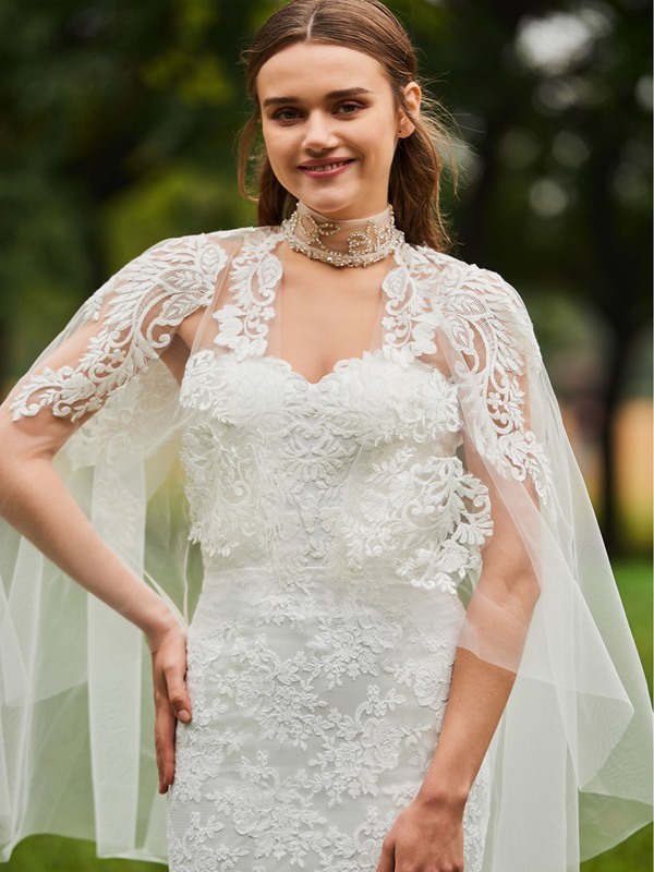 Beaded High Neck Appliques Lace Wedding Dress