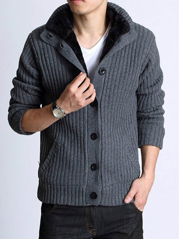 Plain Stand Collar Single-Breasted Men's Sweater