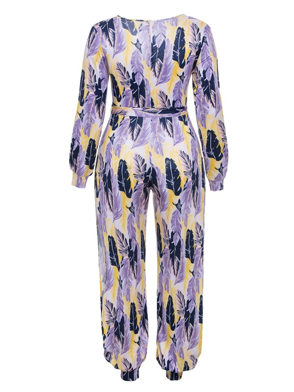 Print Lace-Up Women's Jumpsuit