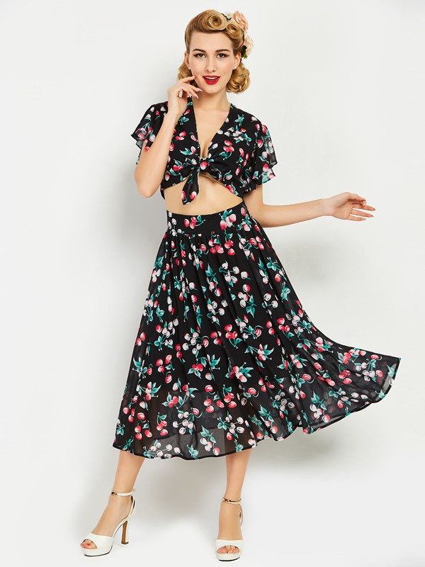 Floral Print Chiffon Tops and Skirt Women's Suit