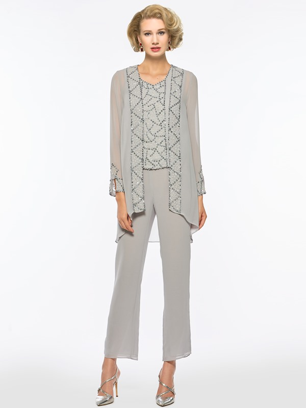 Beaded Sequins 3 Pieces Mother of the Bride Pantsuits