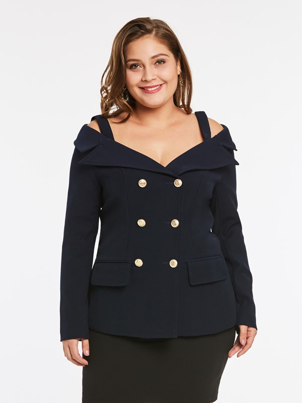 Plus Size Cold Shoulder Women's Blazer