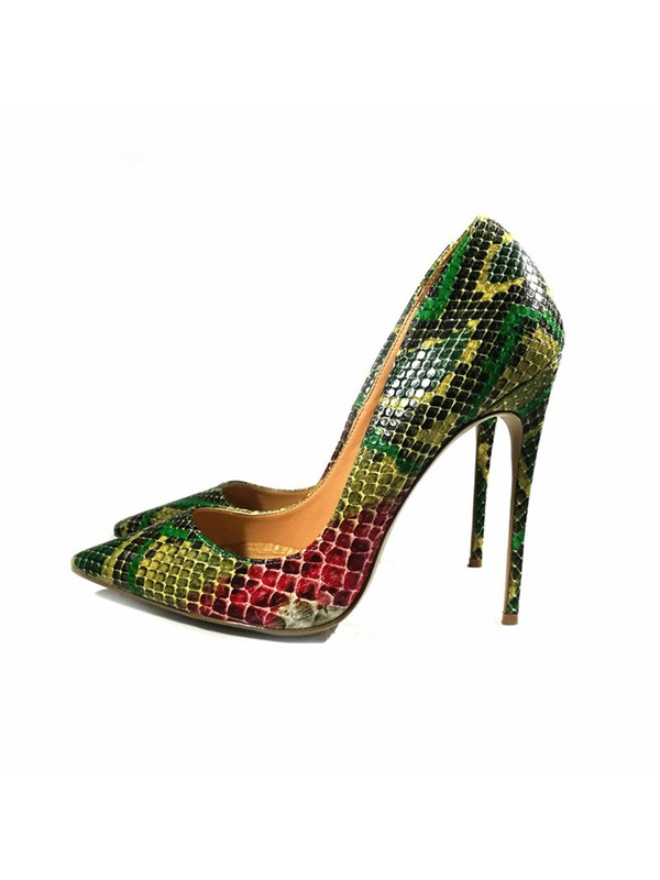PU Slip-On Pointed Toe Serpentine Women's Shoes