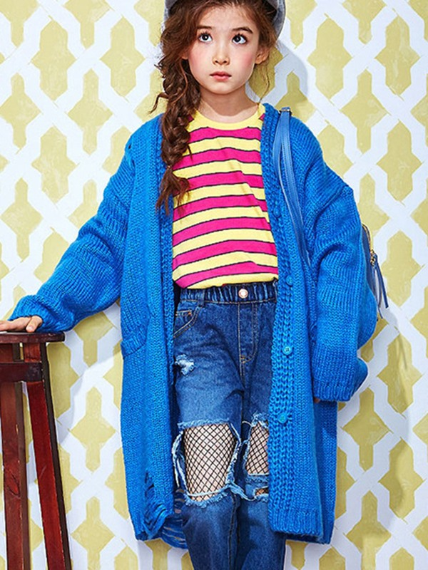 V-neck Single-breasted Long Cardigan Girl's Sweater