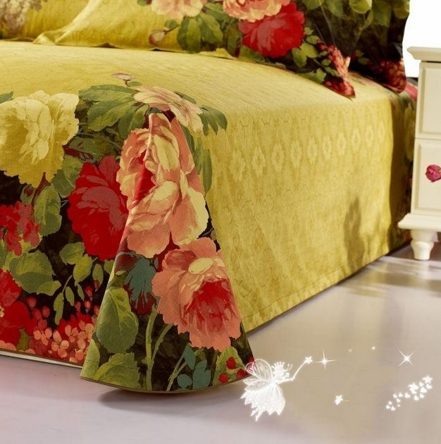 Wannaus 3D Peony Oil Painting Retro Style 4-Piece Bedding Sets/Duvet Covers