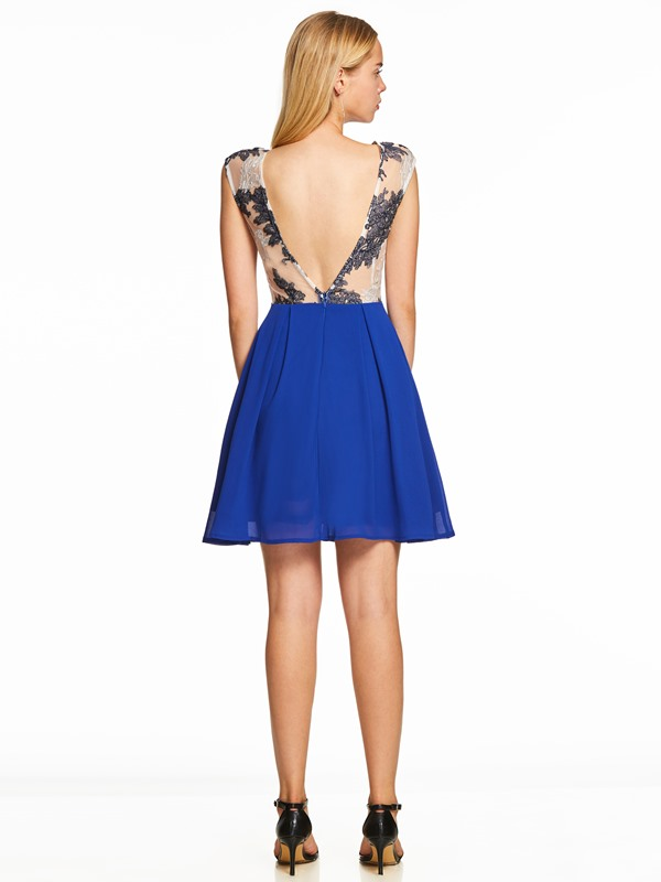 Scoop Neck Pearl Backless A Line Cocktail Dress
