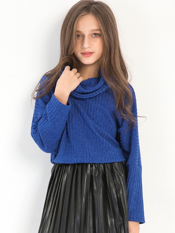 Plain Turtleneck Pullover Girls' Sweater