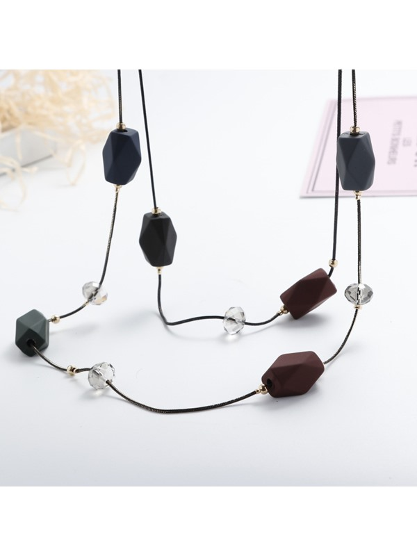 Stone Inlaid Beads Two Layers Long Chain Necklace