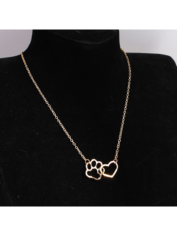 Hollow Heart Shape Cat Claw Pattern E-plating Pendant Necklace