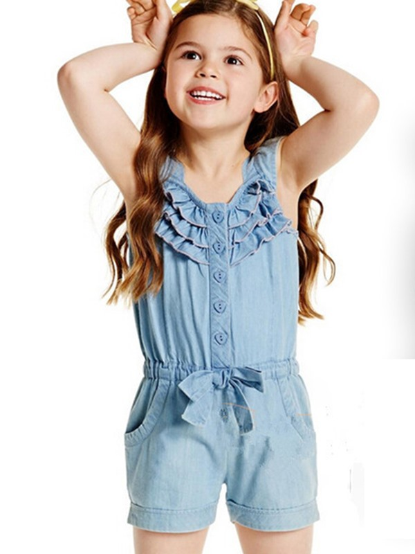 Falbala Pleated Patchwork Lace-Up Girls' Jumpsuit
