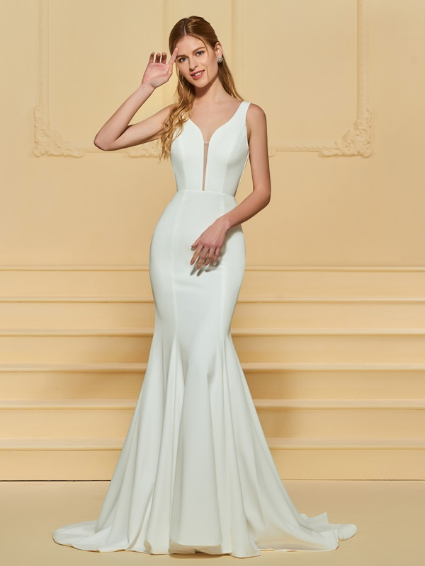 Simple Straps Mermaid Wedding Dress