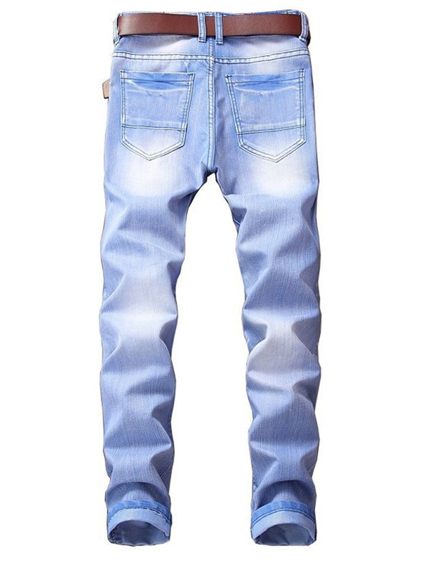 Tidebuy Hole Pleated Slim Fit Men's Jeans