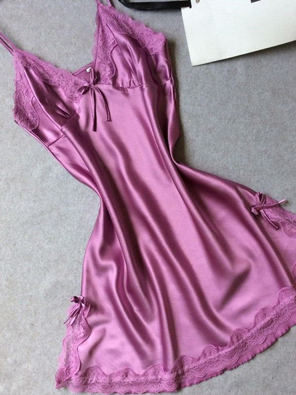 Bowknot Lace Above Knee Nightgown