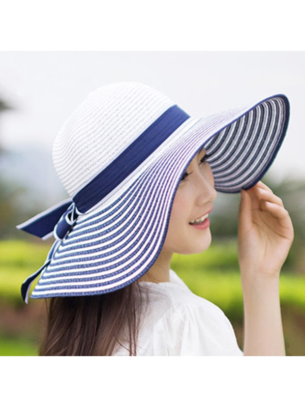Stripe with Bowknot Decorated Wide Brim Sun Hat