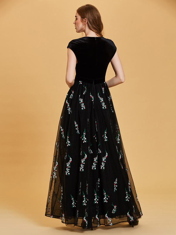 Velvet Scoop Cap Sleeves Embroidery A Line Evening Dress