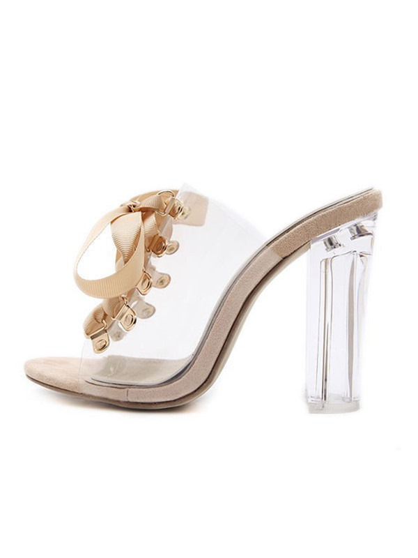 Transparent Cross Strap Chunky Heel Women's Flip Flops