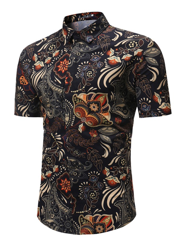 Tidebuy Stylish Floral Print Men's Short Sleeve Shirt