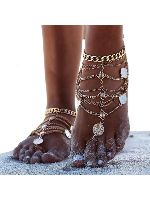 Punk Antique Copper Chain Decorated Multi-layer Anklets
