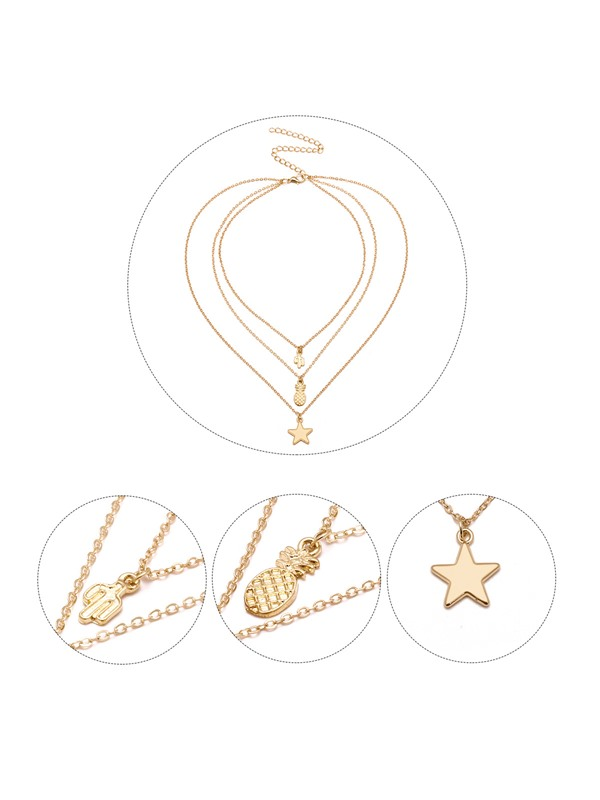 Star Pendant E-plating Gold Layered Necklace