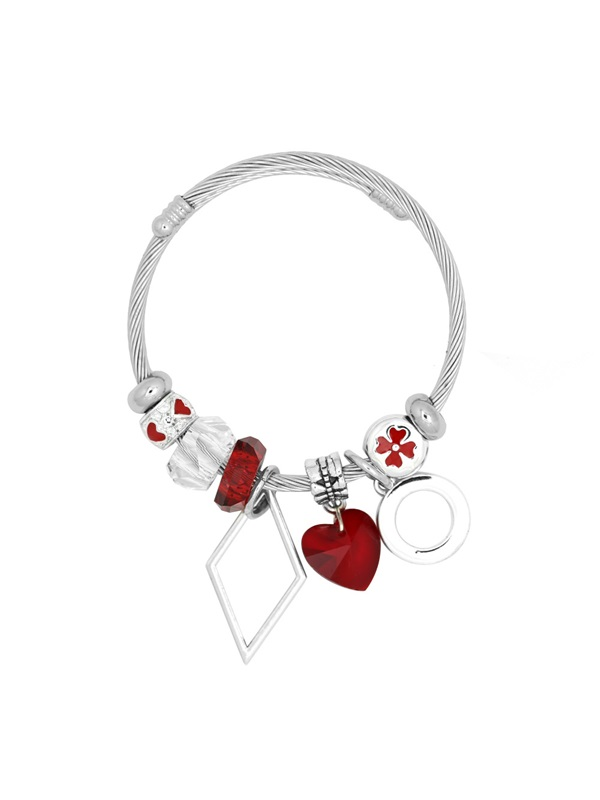 Adjustable Geometric Shape Stainless Steel Charm Bracelet