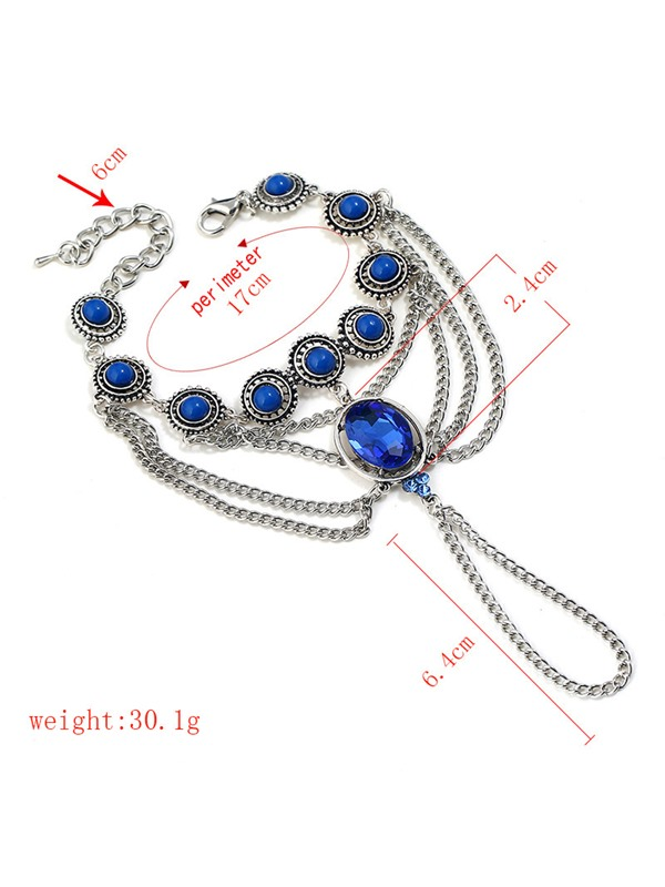 Sapphire Inlaid Silver Plated Multi-layer Bracelets