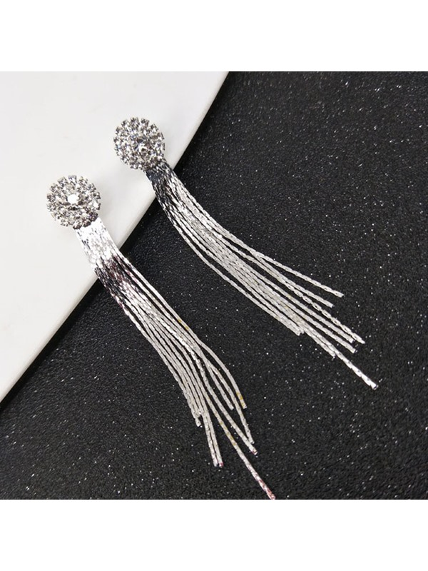 Elegant Tassel Design Zircon Wedding Drop Earrings