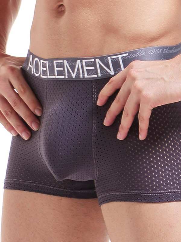 Breathable Hollow Mesh Ice Silk Boxer Briefs for Men