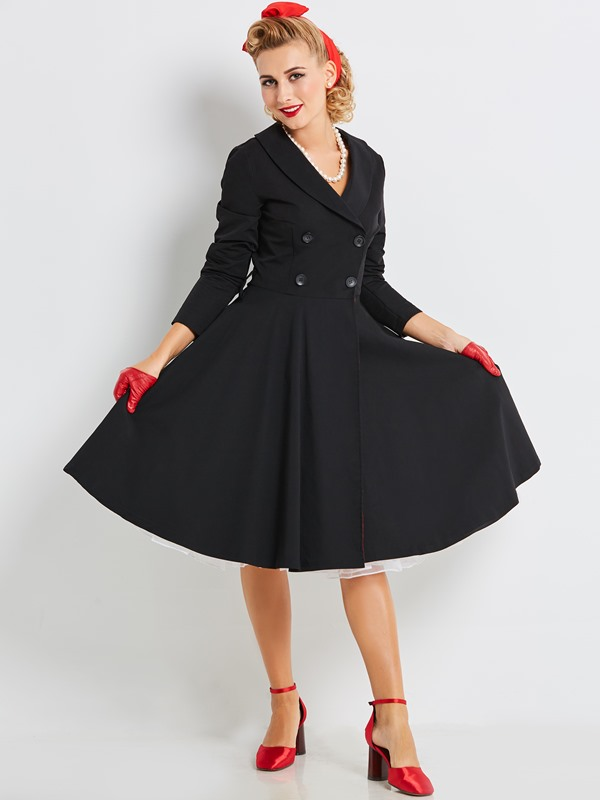 Tidebuy Cotton Blends Double-Breasted Women's Skater Dress