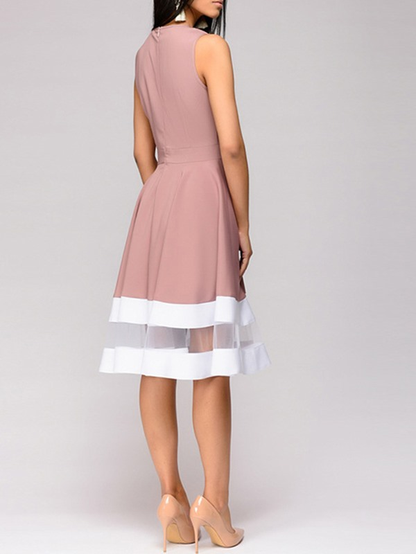Mesh Pleated Sleeveless A-line Women's Dress