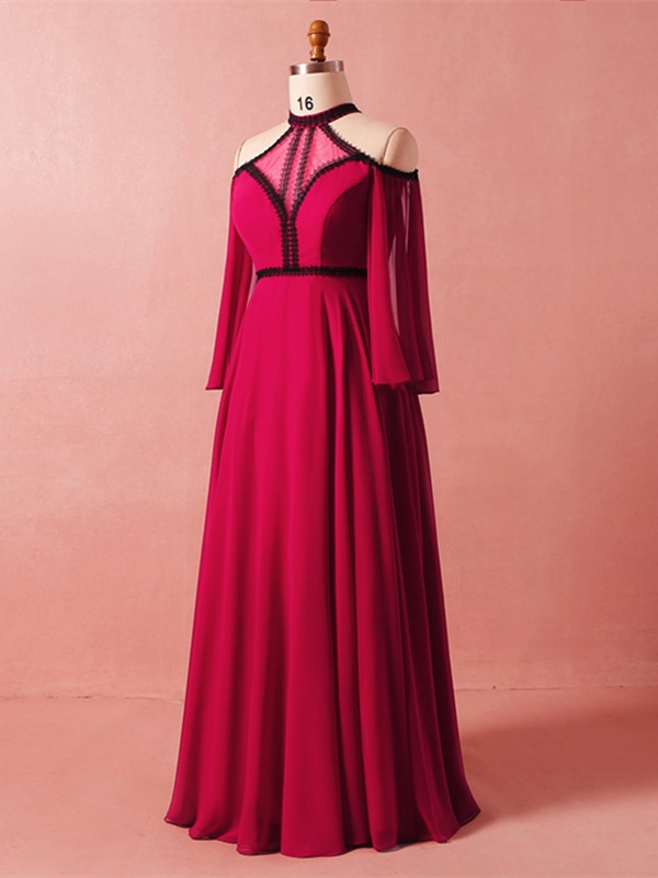 A-Line Half Sleeves Halter Lace Plus Size Evening Dress