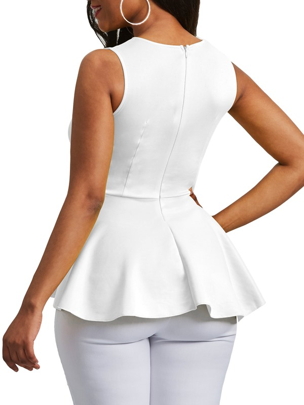 Applique Peplum Zipper Sleeveless Women's Blouse