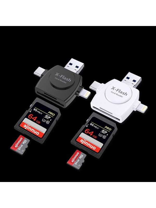 4 In 1 Type-C TF SD Lightning Micro USB Multi High Speed X-Flash Card Reader