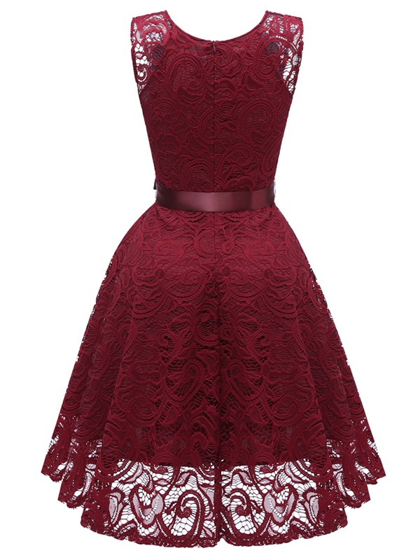 Sleeveless High Waist Lace Patchwork Women's Lace Dress