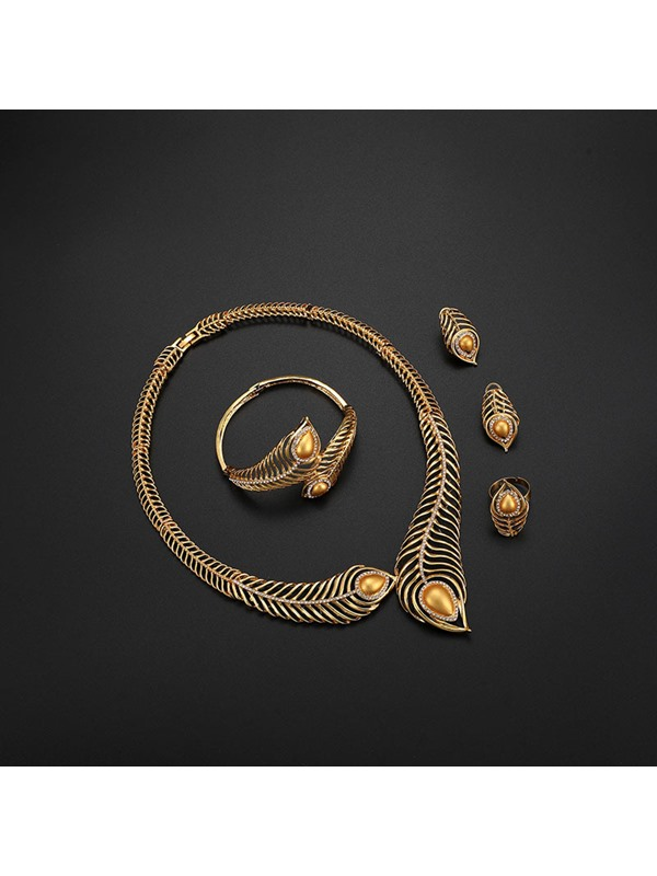 Feather Shape with Gold Plated Four-Piece Jewelry Sets