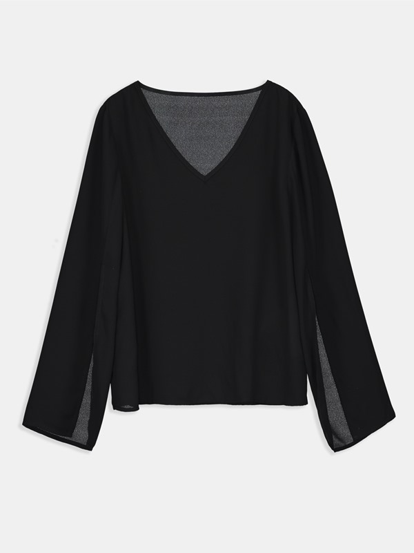 V-Neck Chiffon Mesh Loose Women's Blouse