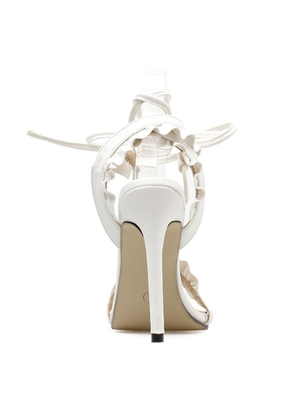 Ruffles Lace-Up Strappy Stiletto Heel Women's Sandals