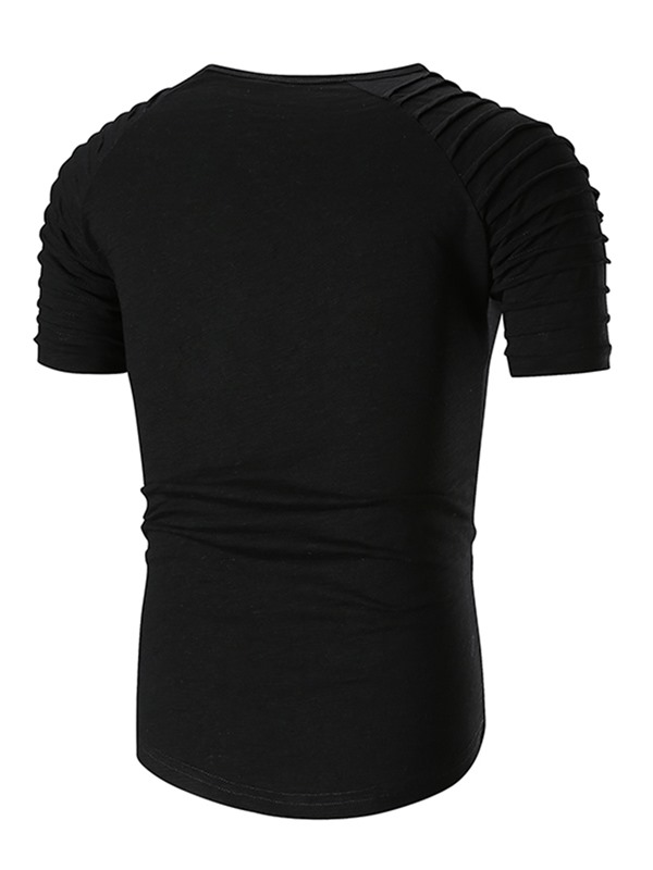 Tidebuy Plain Pleated Men's Short Sleeve Tee