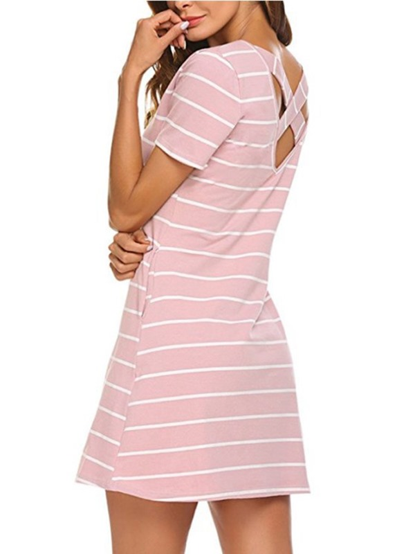 Tidebuy A-Line Strips Backless Women's Dress