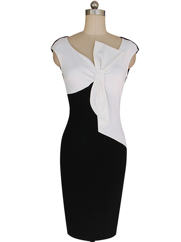 Tidebuy Pencil Bowknot Color Block Women's Bodycon Dress