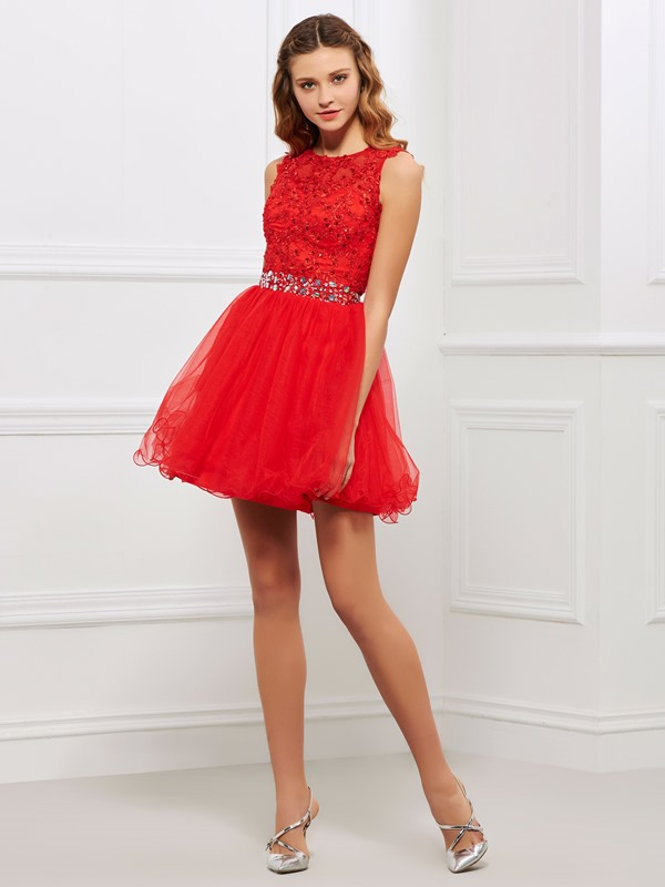 A-Line Appliques Scoop Beaded Cocktail Dress