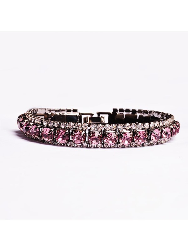 Concise Purple Zircon Design Birthstone Bracelet